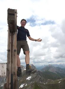 Auf dem Gipfelkreuz Pfannspitze
