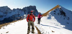 Geisler Spitzen und Kreuzjoch im Schnee